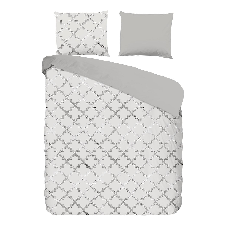 Beddengoed Silvi - satijn - crèmewit/zilverkleurig - 240x240cm + 2 kussen 70x60cm, Descanso