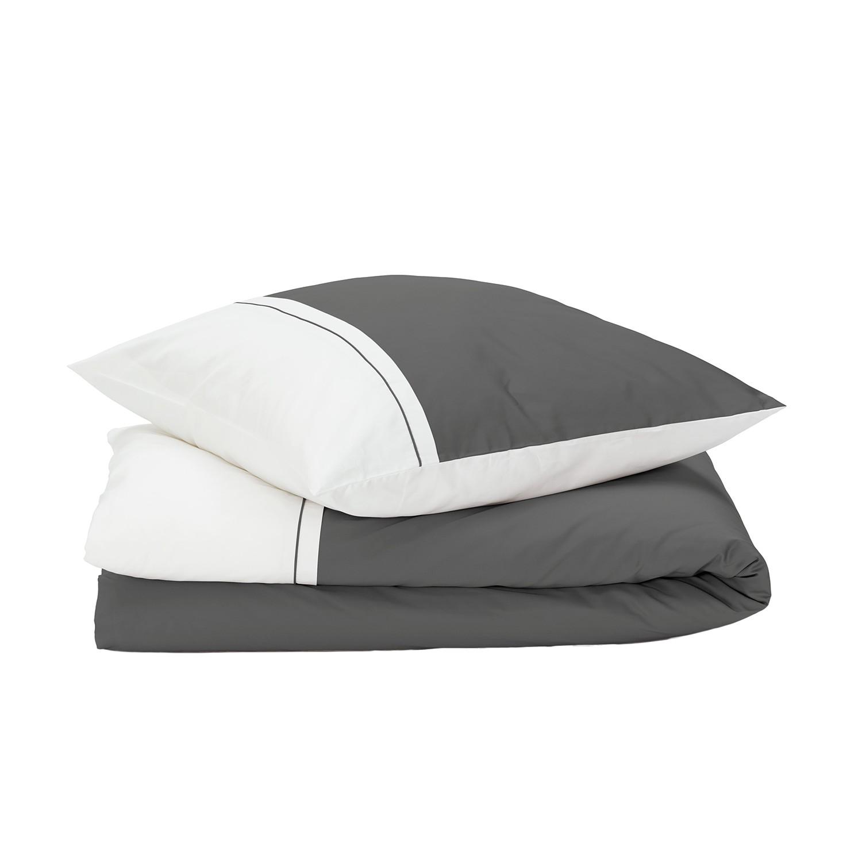 Bettwäsche Sogno - Baumwollstoff - Grau / Weiß - 135 x 200 cm + Kissen 80 x 80 cm