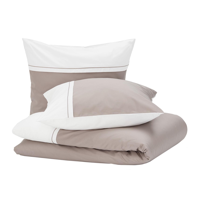 Bettwäsche Sogno - Baumwollstoff - Taupe / Weiß - 200 x 200 cm + 2 Kissen 80 x 80 cm