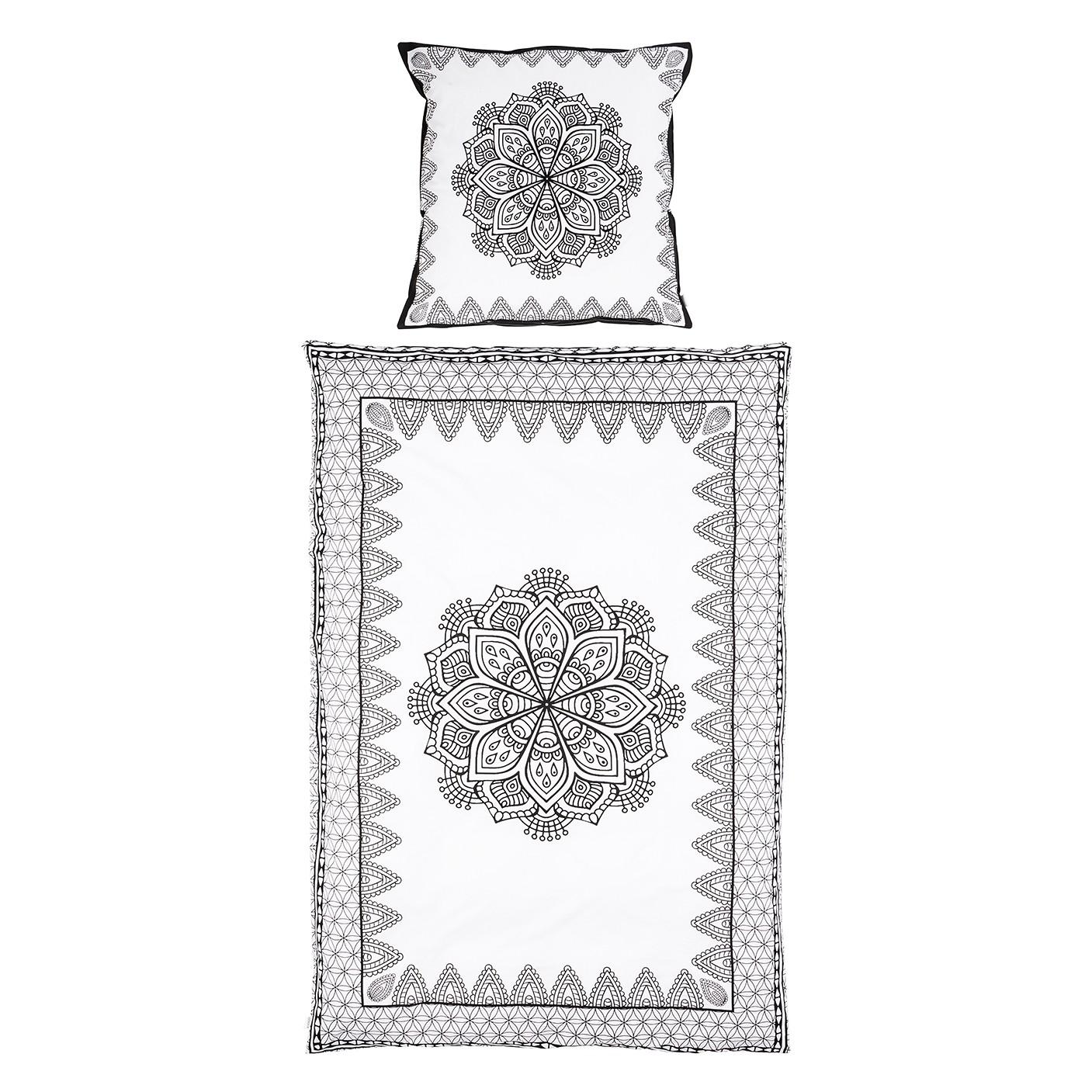 Beddengoed Vivala - katoen - zwart/wit - 155x220cm + kussen 80x80cm, KIYDOO