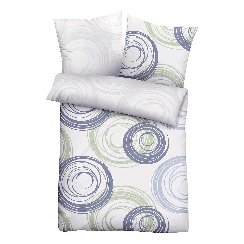 baumwoll jersey bettw sche gr n gestreift 200x135cm biberna. Black Bedroom Furniture Sets. Home Design Ideas