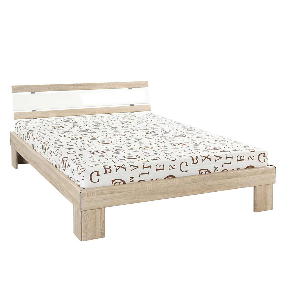 Lit Betty - Matelas à ressorts Bonnell - Imitation chêne brut de sciage / Blanc, Home Design