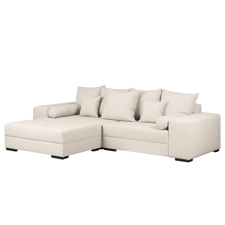 grand canap aaron i tissu avec repose pieds beige clair maison belfort meubles en ligne. Black Bedroom Furniture Sets. Home Design Ideas