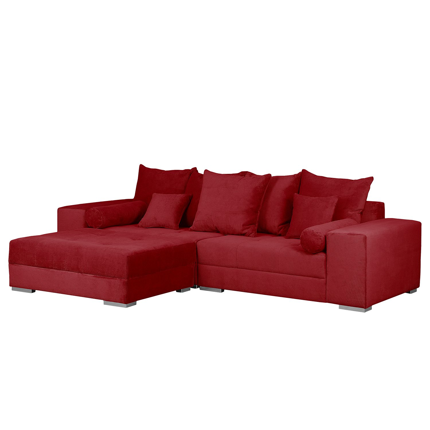 grand canap aaron iii microfibre avec repose pieds rouge. Black Bedroom Furniture Sets. Home Design Ideas