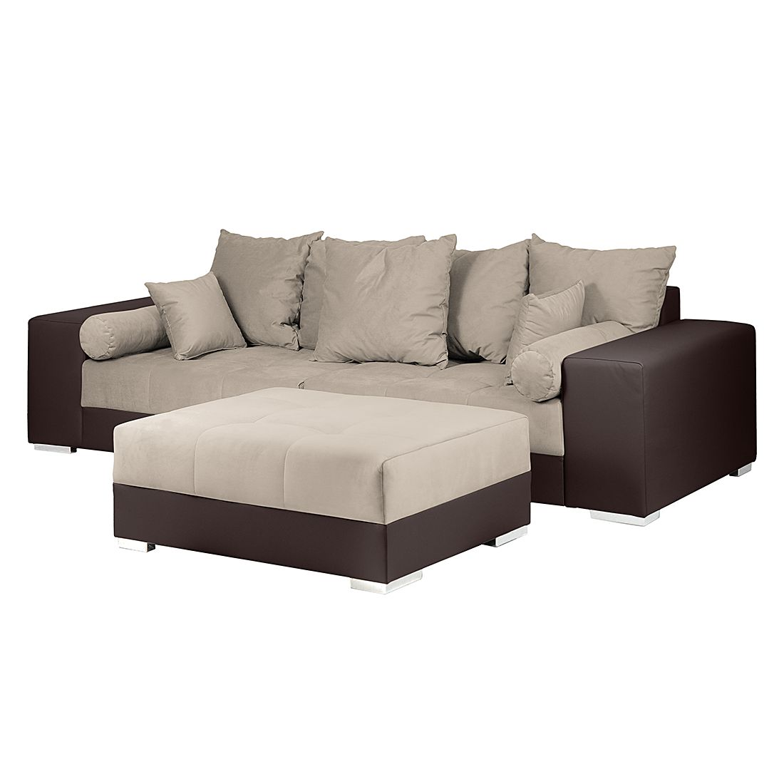 bigsofa aaron kunstleder braun samtstoff taupe mit hocker modoform g nstig online kaufen. Black Bedroom Furniture Sets. Home Design Ideas