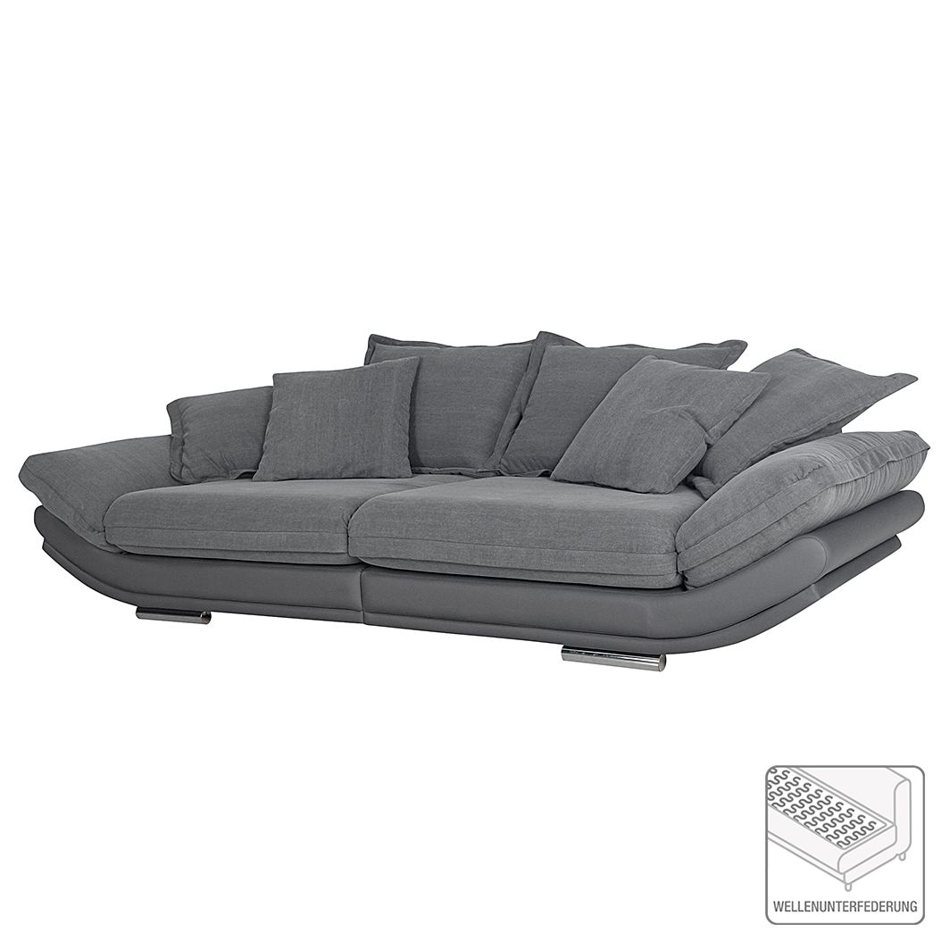 Grand canapé Agna - Imitation cuir / Tissu en coton, roomscape