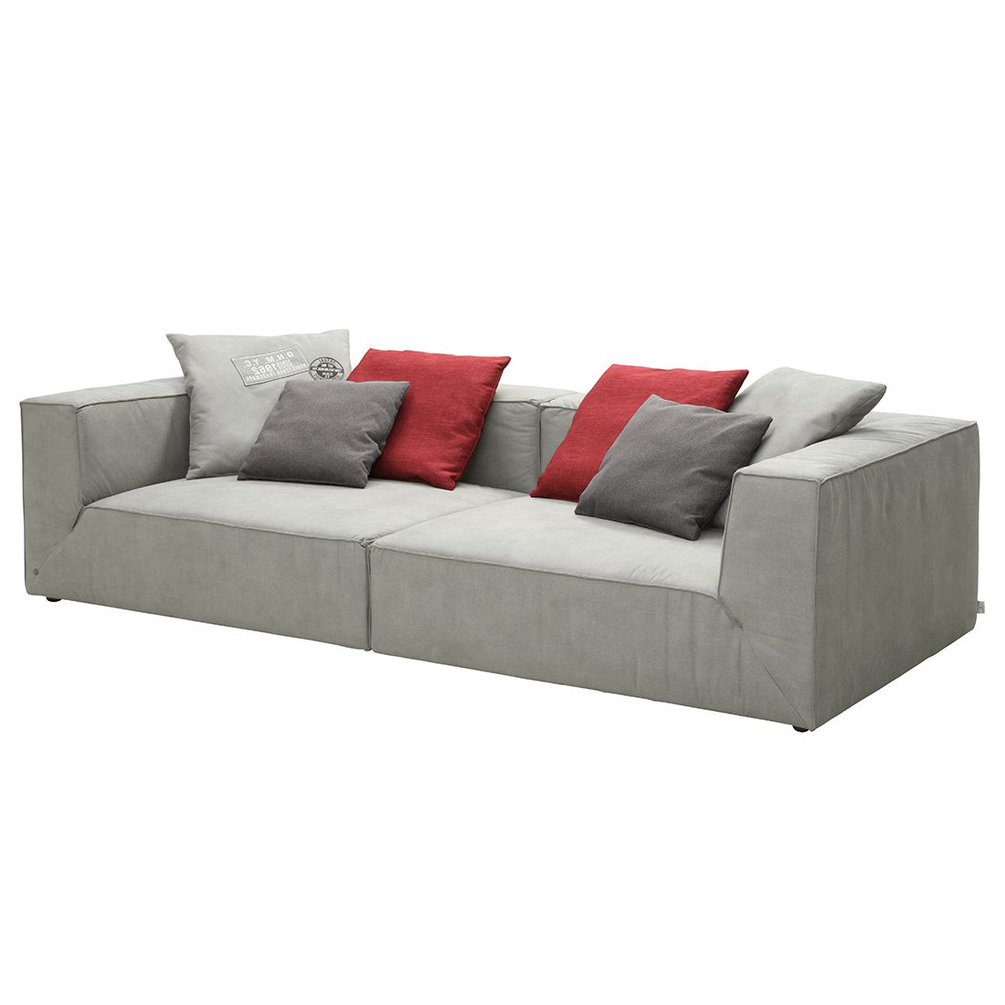 Bigsofa Big Cube - Antiklederoptik Grau - 6 Kissen - 300 x 122cm, Tom Tailor