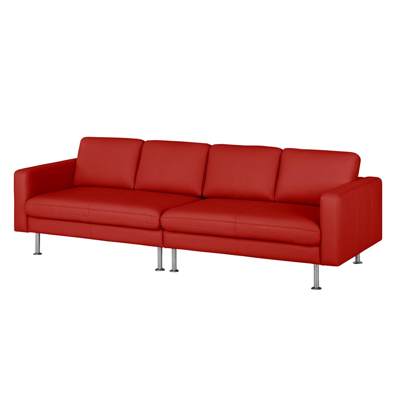 Grand canapé Bivona II - Cuir véritable - Rouge, Nuovoform