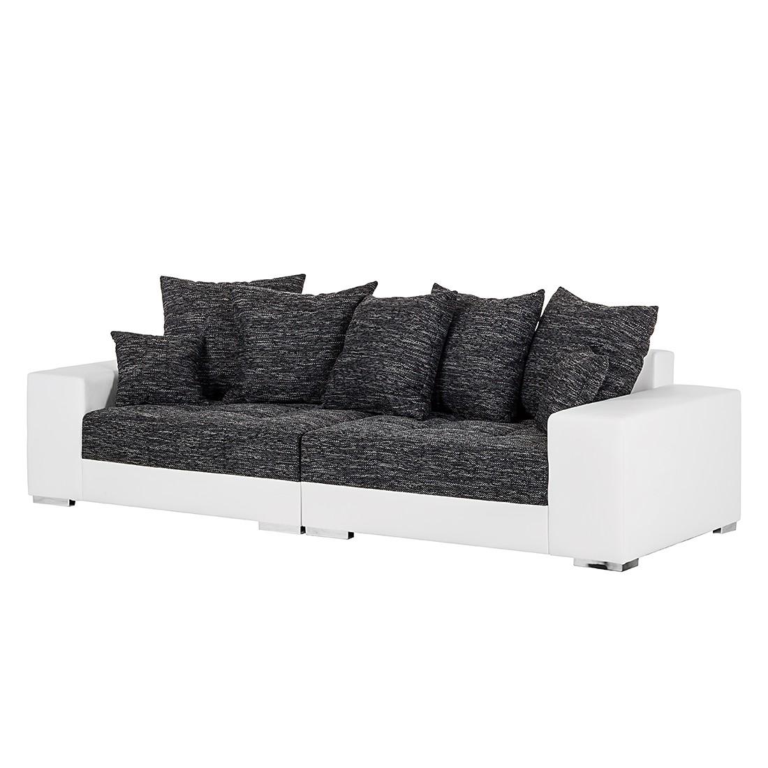 Grand canapé Cinder - Cuir synthétique blanc / Tissu structuré noir, loftscape