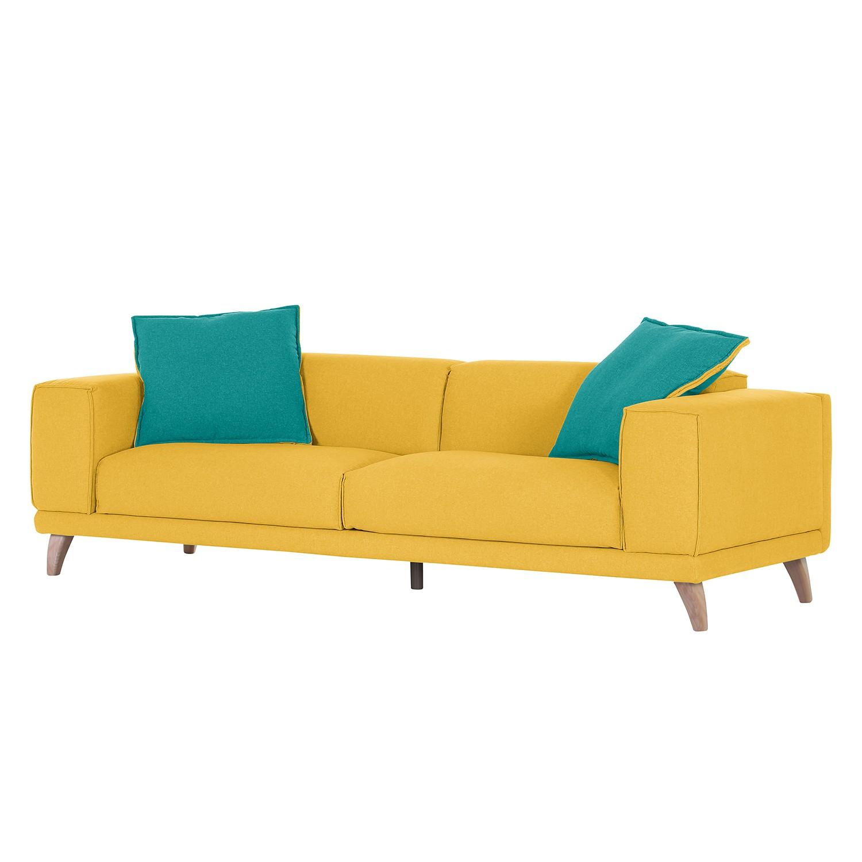 Grand canapé Dina - Tissu - Jaune moutarde / Gris pétrole, Morteens