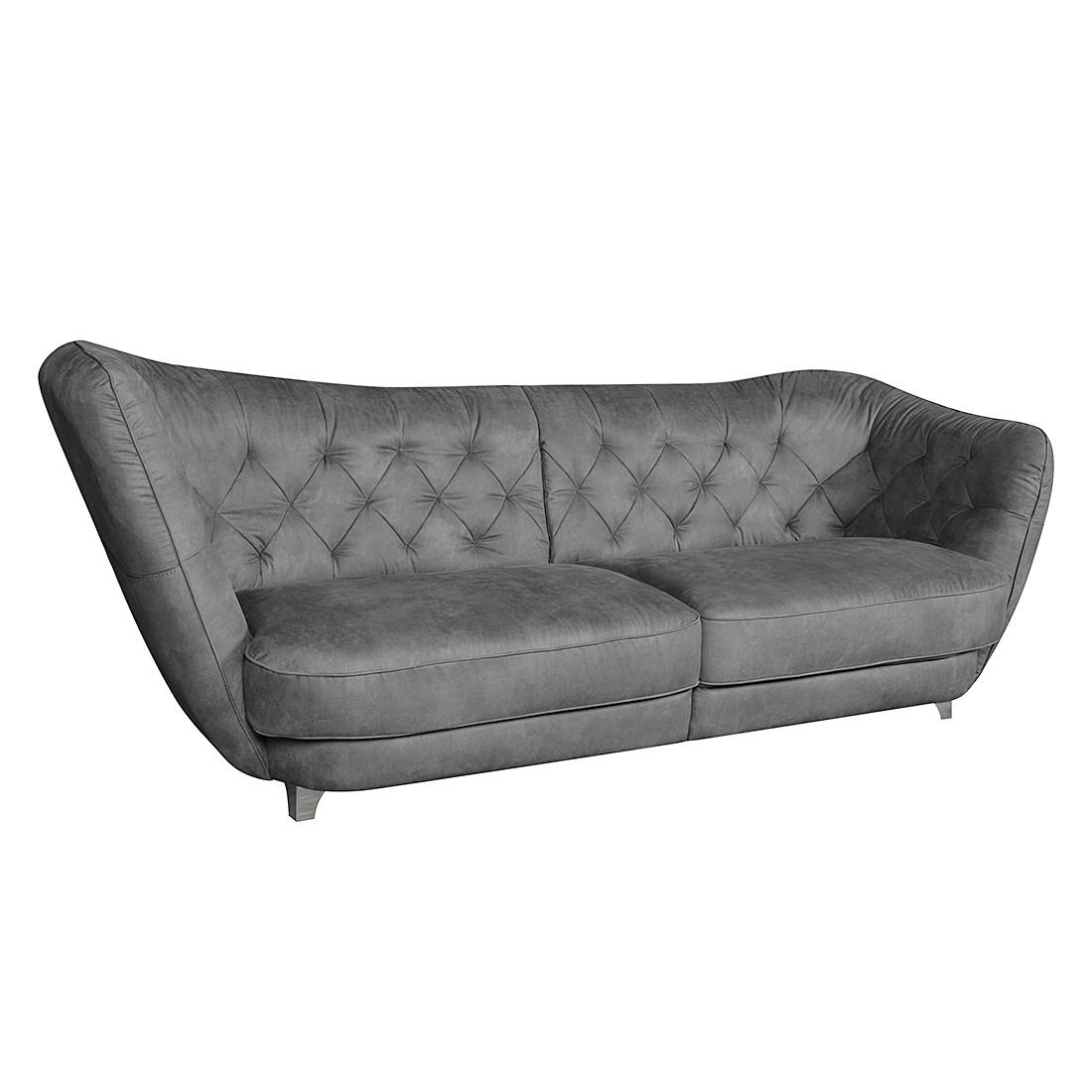 Grand canapé Ella - Microfibre gris - Accoudoir monté à gauche (vu de face) - Gris foncé, Cotta