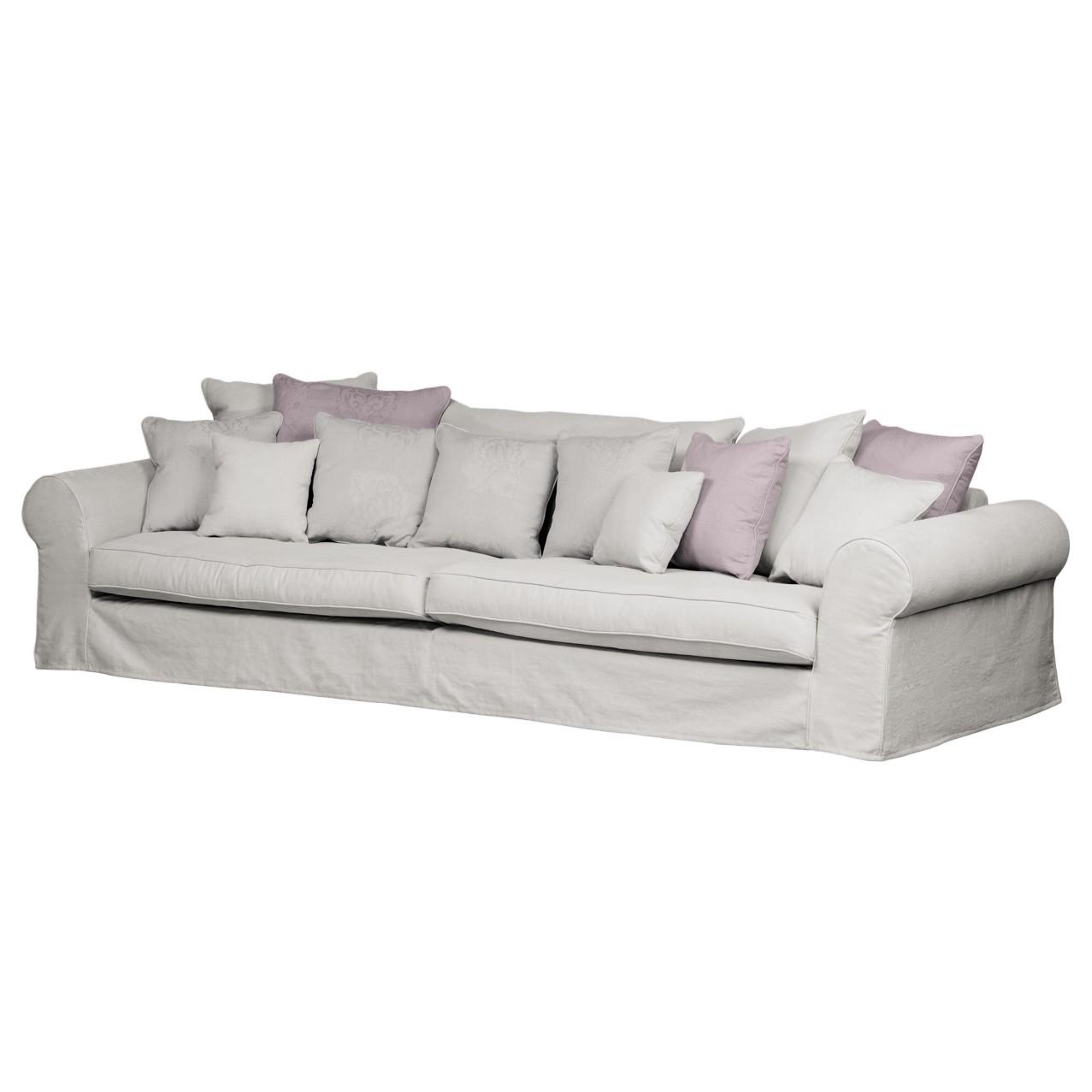 Grand canapé Lindas - Tissu - Gris / Violet, Maison Belfort