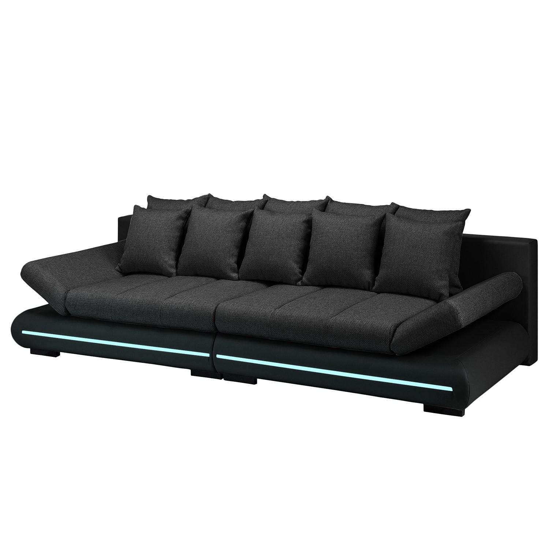 EEK A+, Grand canapé Rexburg - Imitation cuir / Tissu structuré - Convertible et éclairage LED - Noi