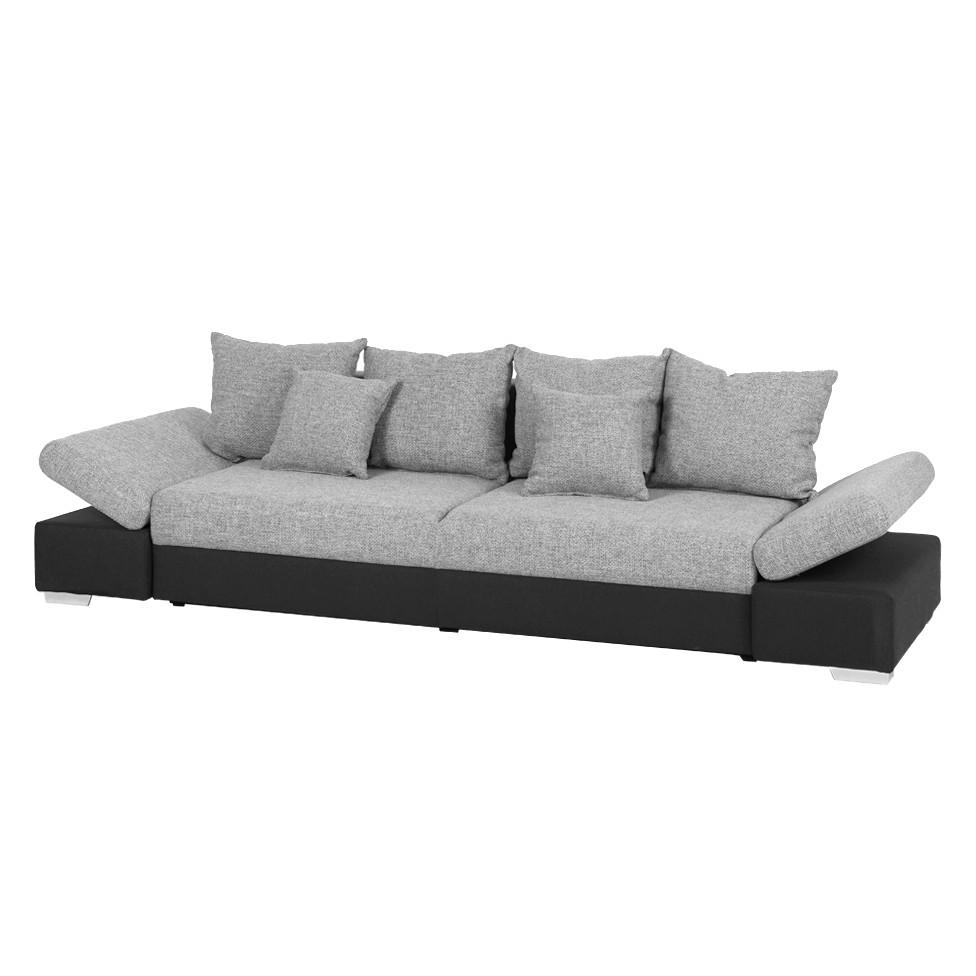 Grand canapé Truman - Tissu noir / structuré gris, Fredriks