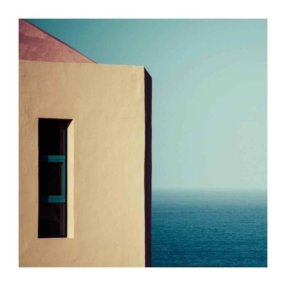 Afbeelding Zeezicht - alu-plaat - blauw/beige, seen.by