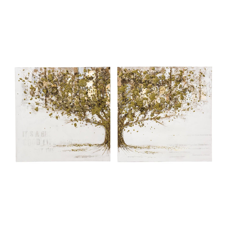 bild mystic golden tree 2 teilig leinwand wei gold ars natura g nstig schnell. Black Bedroom Furniture Sets. Home Design Ideas