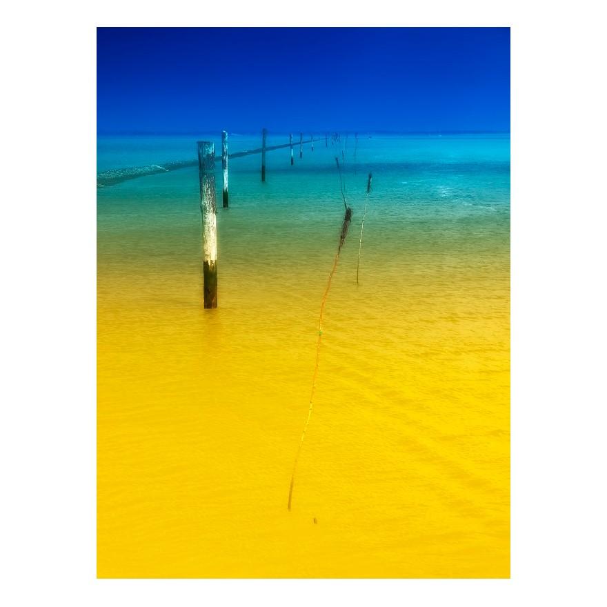Afbeelding Seaside - alu-plaat - geel/blauw, seen.by