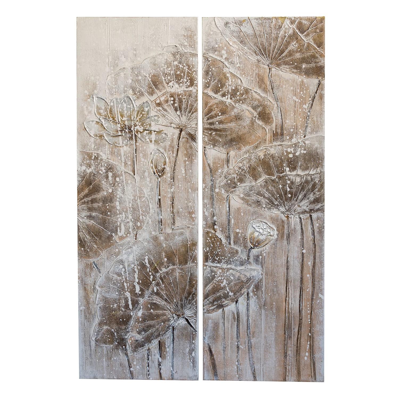 bild florales 2 teilig leinwand grau beige fredriks g nstig schnell einkaufen. Black Bedroom Furniture Sets. Home Design Ideas