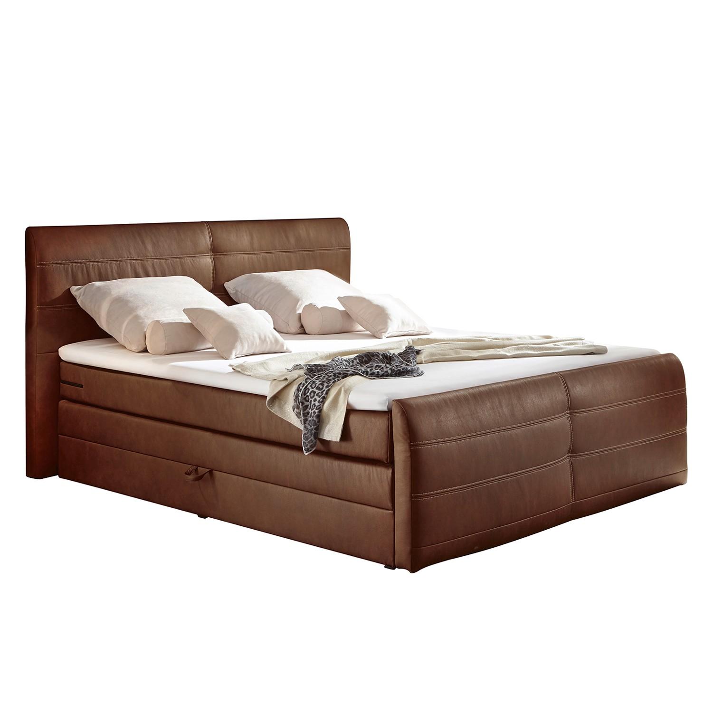 Lit Boxspring Navan (avec coffre de lit) - Cuir synthétique - Cognac vintage, loftscape
