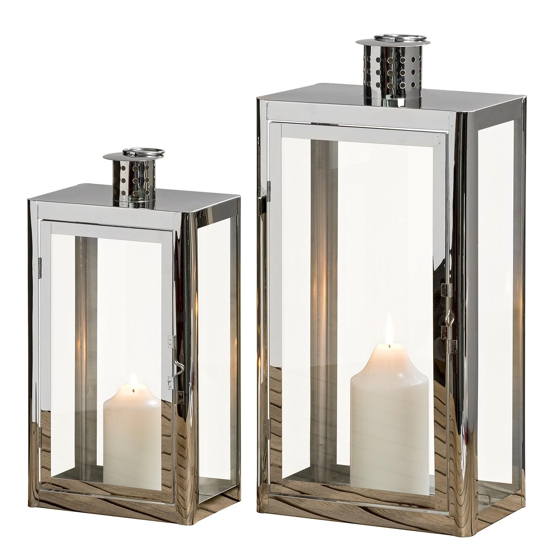 Home 24 - Lanterne visby (lot de 2) - acier inoxydable / verre - argenté, jack and alice