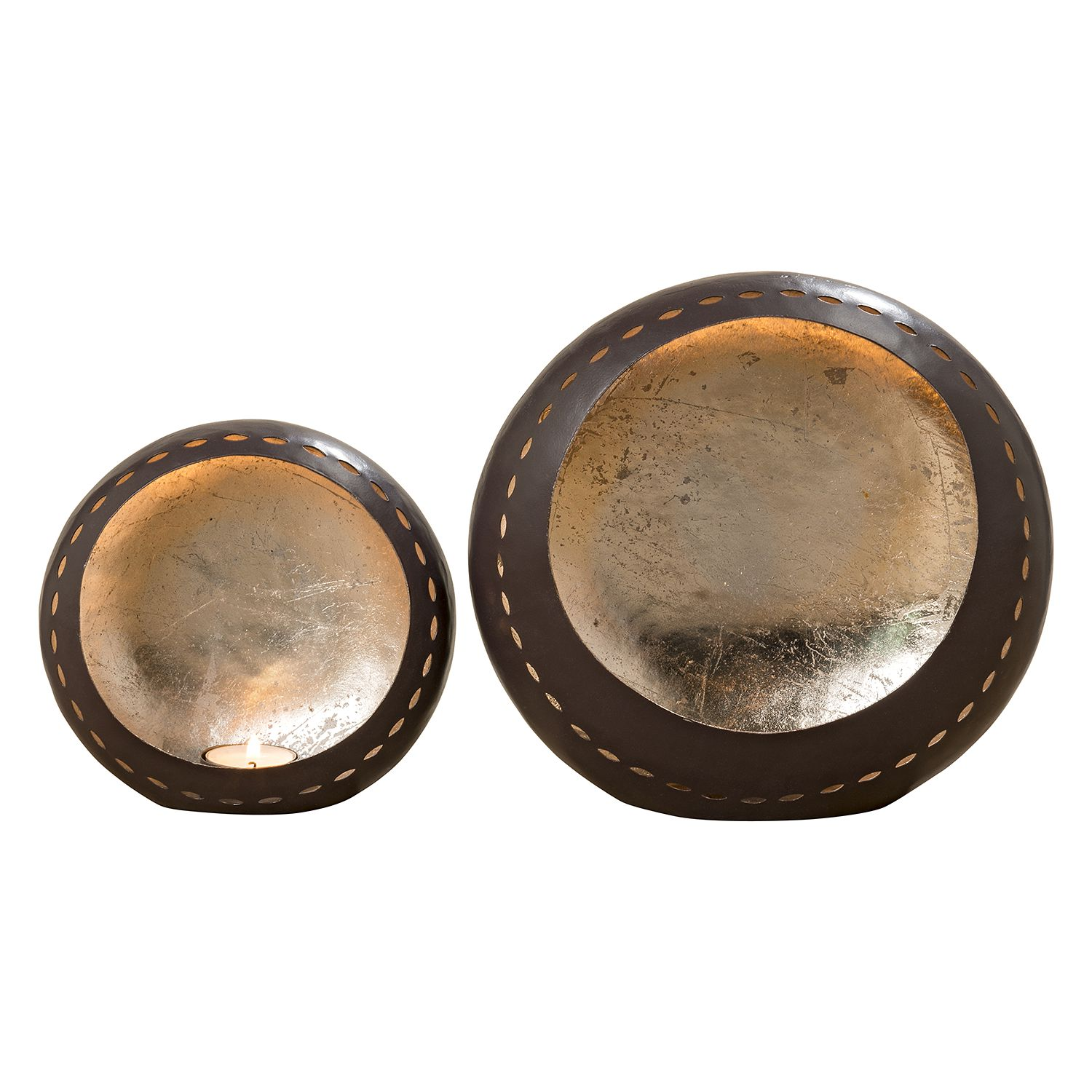Home 24 - Photophore riom (lot de 2) - fer - marron / argenté, ars manufacti