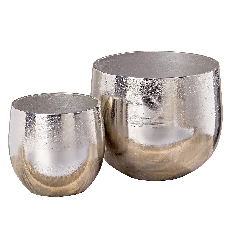 Bloempotten Flaire (2-delige set) - aluminium - zilverkleurig, loftscape