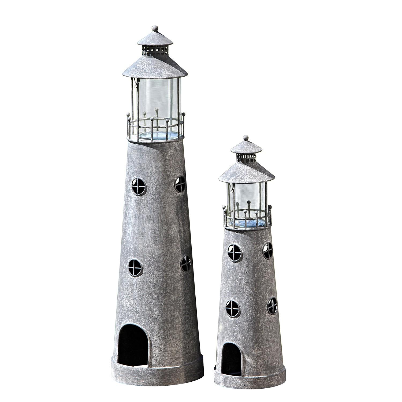 Home 24 - Lanterne morgat (lot de 2) - fer - gris, capeside westcoast