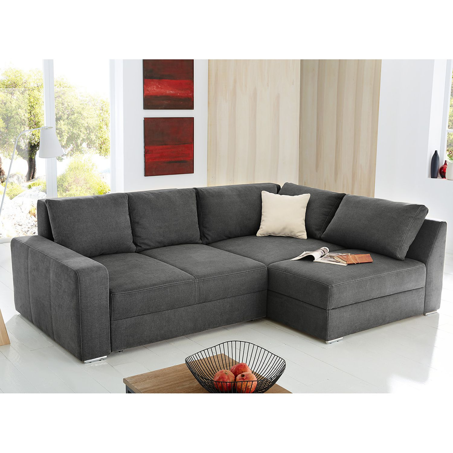 ecksofa grau mit schlaffunktion. Black Bedroom Furniture Sets. Home Design Ideas
