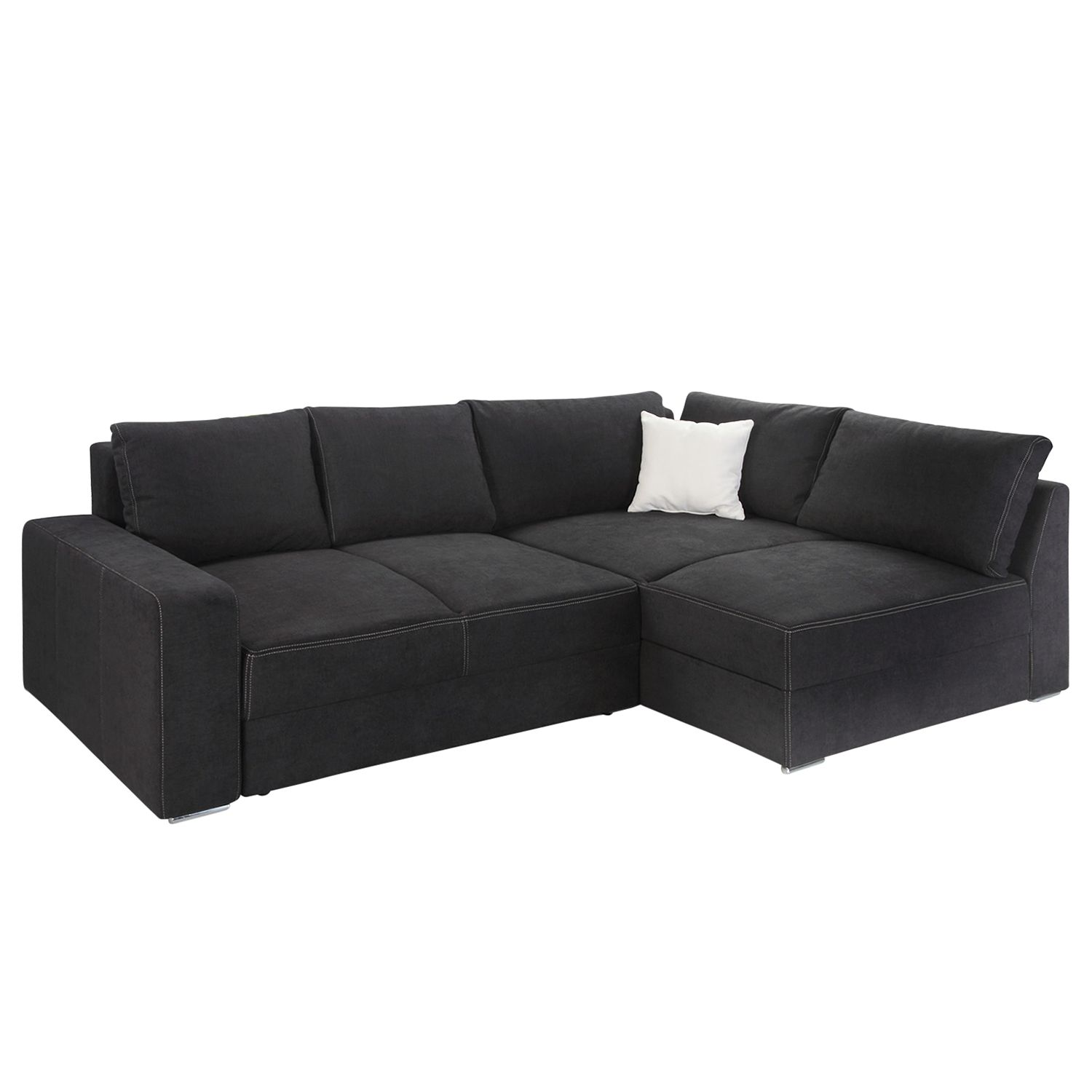boxspring ecksofa esbjerg mit schlaffunktion beidseitig montierbar microfaser schwarz. Black Bedroom Furniture Sets. Home Design Ideas