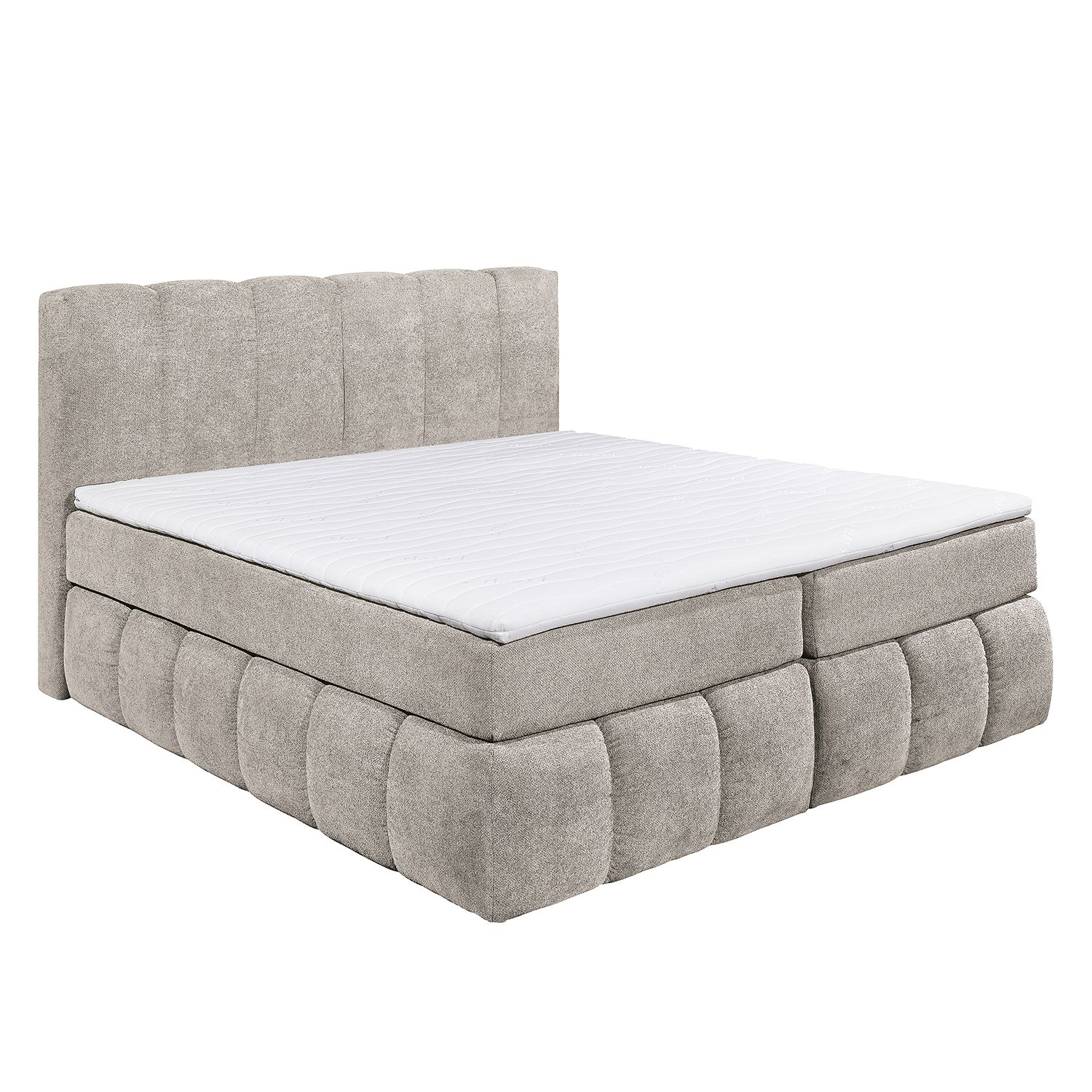 Lit boxspring Arville - Microvelours - Beige, loftscape