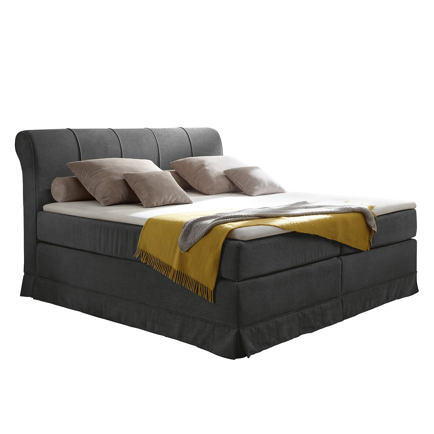 Lit boxspring Dixon - Microvelours - Gris, Ridgevalley