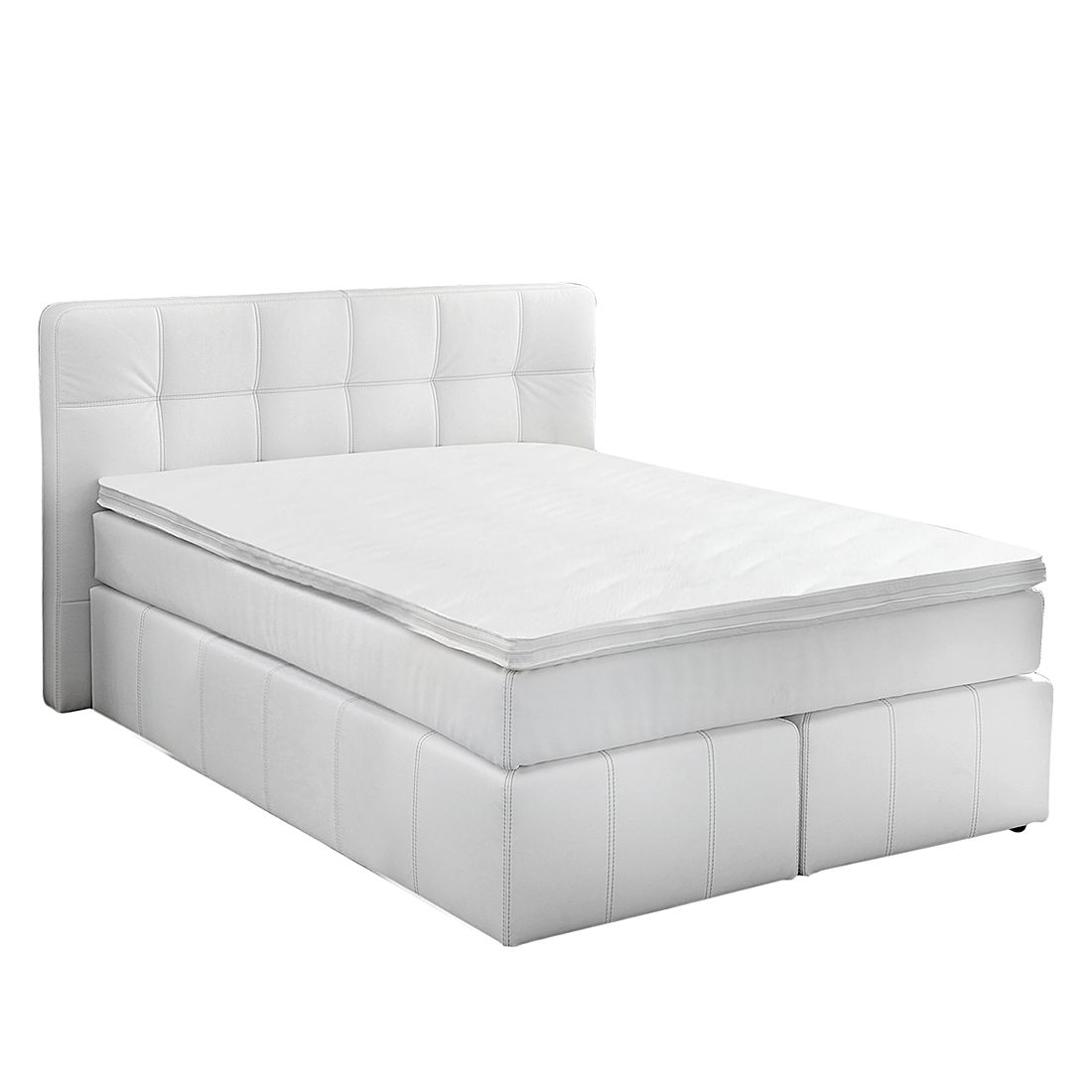 Lit boxspring Eastcoast - Cuir synthétique - 140 x 200cm - Blanc, Home Design