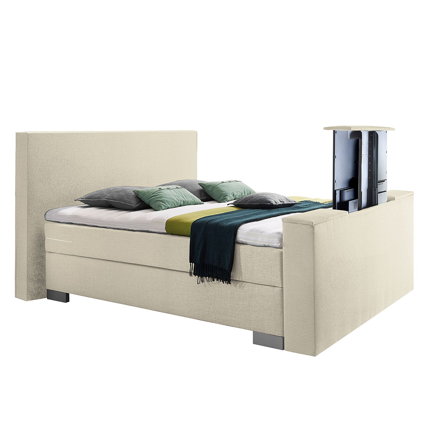 Boxspring Emperial Night II - 180 x 200cm - H2 tot 80kg - Bonellvering - Crème, Grand Selection