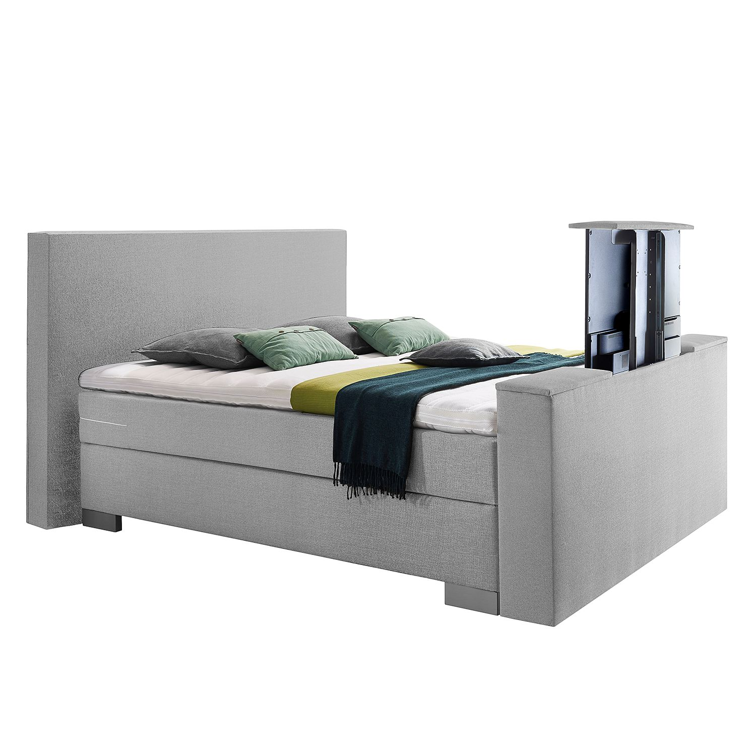 Boxspring Emperial Night II - 200 x 200cm - H2 tot 80kg - Bonellvering - Lichtgrijs, Grand Selection