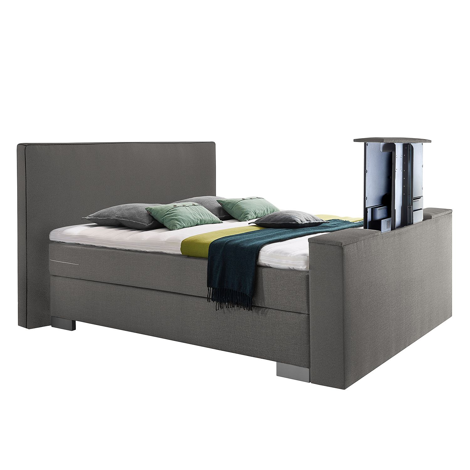 Boxspring Emperial Night III - 160 x 200cm - H3 vanaf 80kg - Ton pocketvering - Solino grijs, Grand Selection