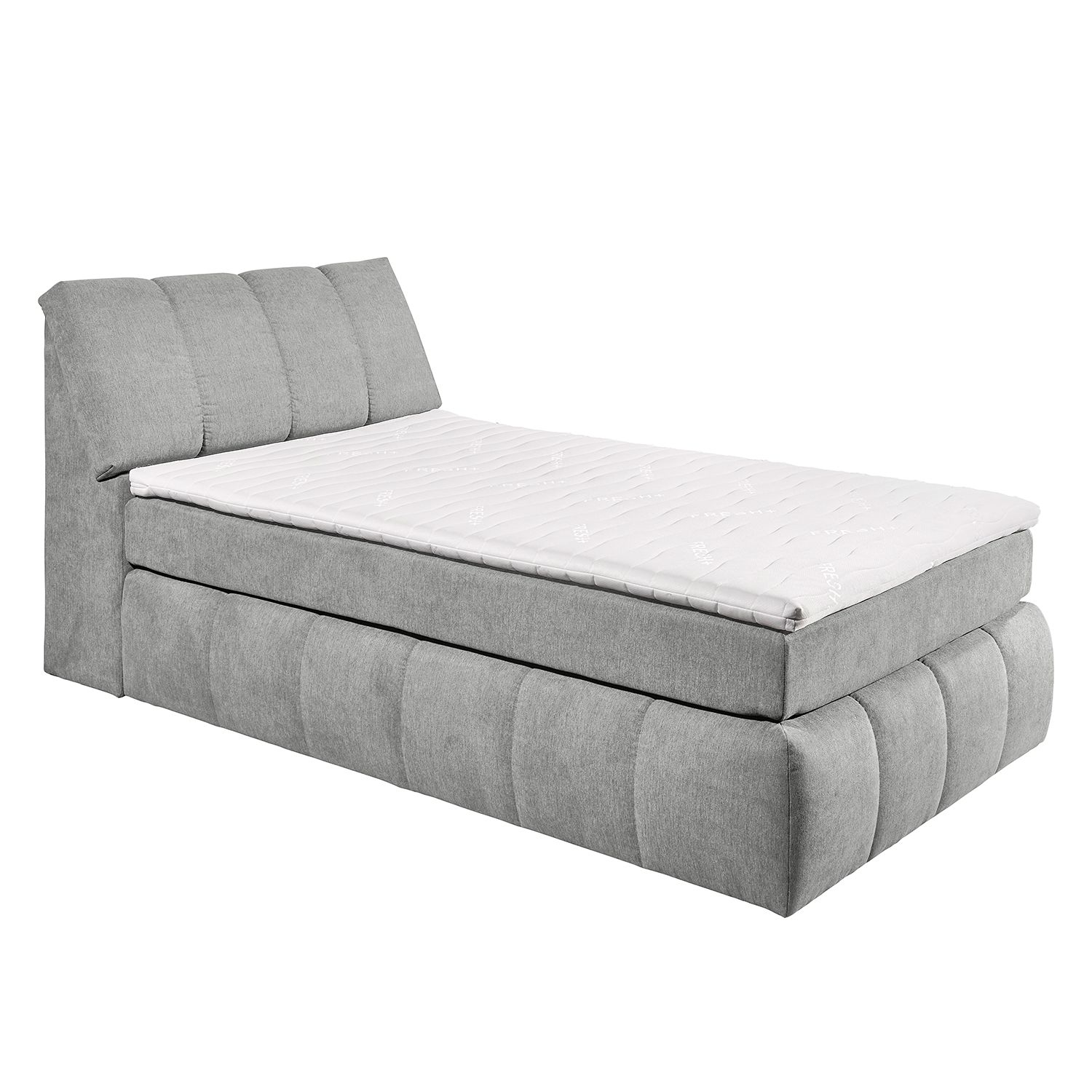 lit boxspring fenor avec coffre de lit tissu gris. Black Bedroom Furniture Sets. Home Design Ideas