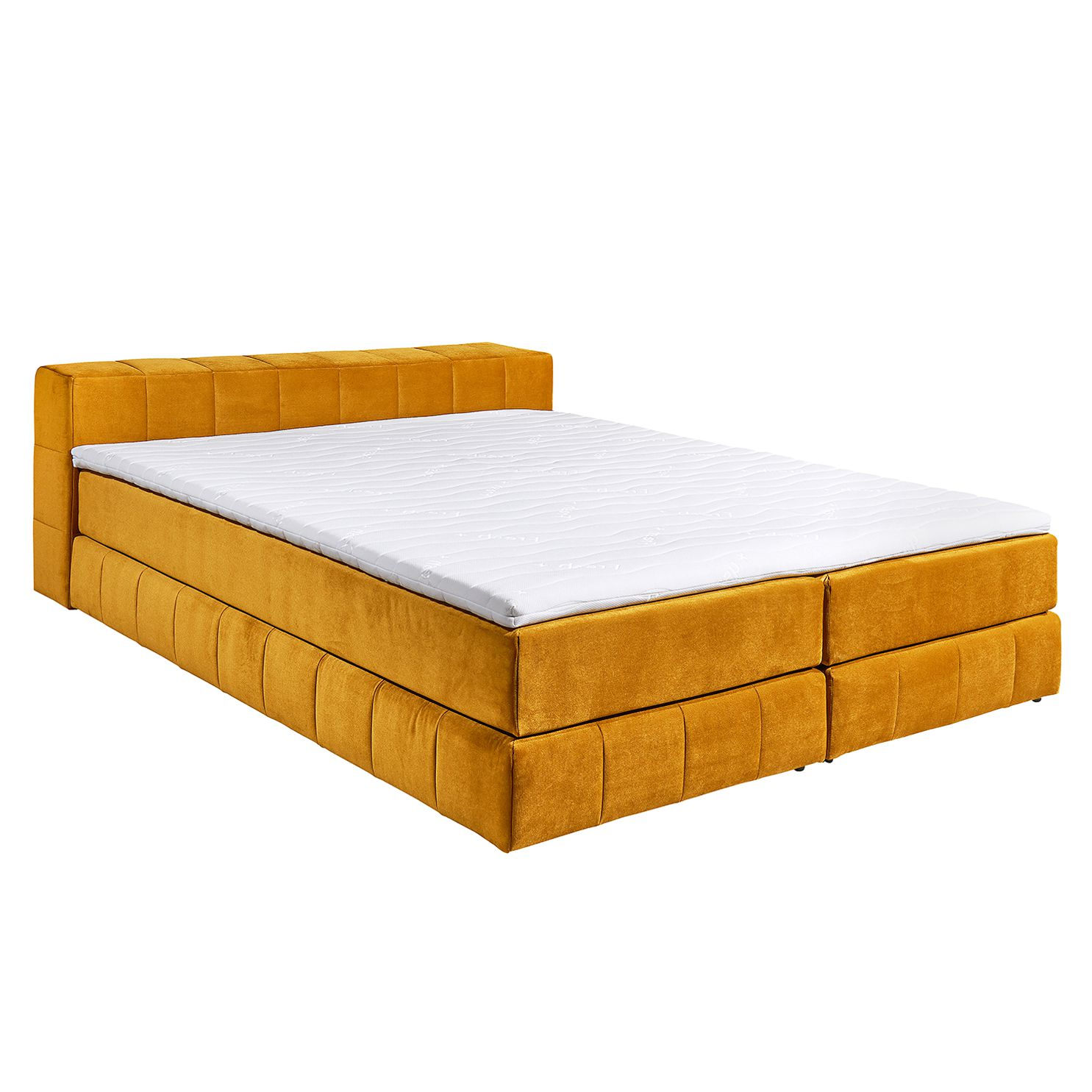 Lit boxspring Gowan - Microvelours - Doré, Red Living
