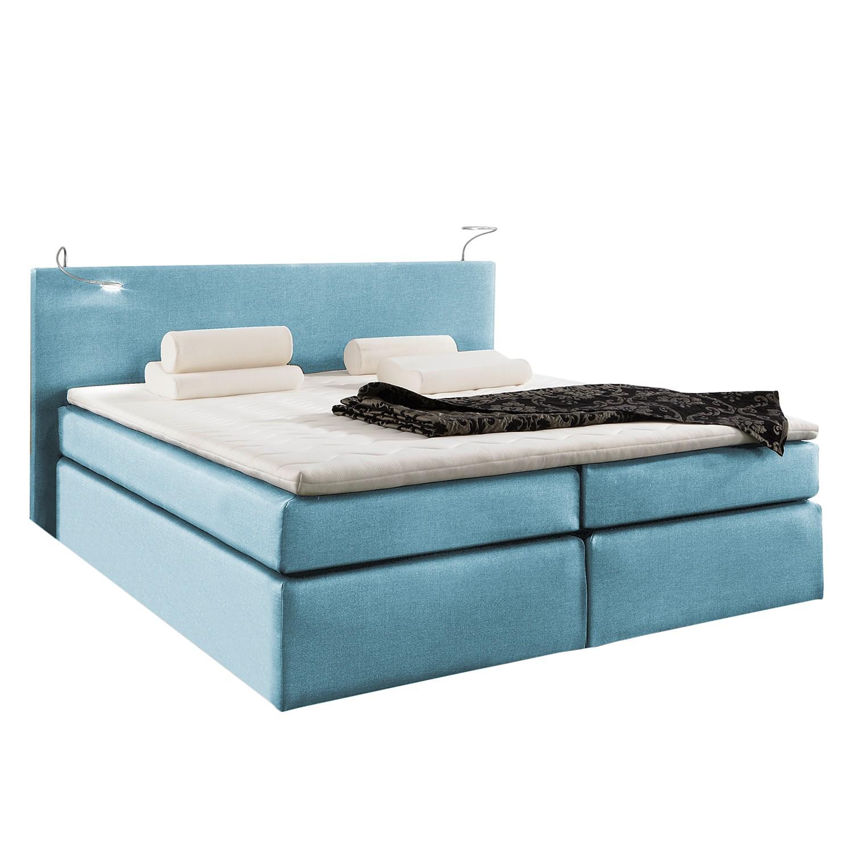 Boxspring Japura - inclusief topper - geweven stof - 140 x 200cm - Jeansblauw, Fredriks
