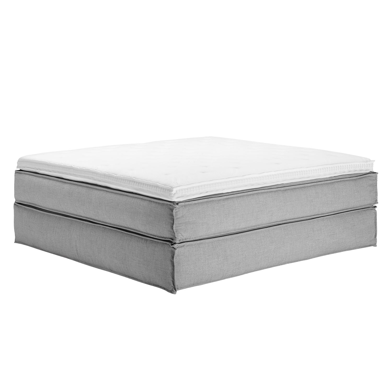 Boxspringbett Kinx - Webstoff - Grau - Ohne - 200 x 220 cm