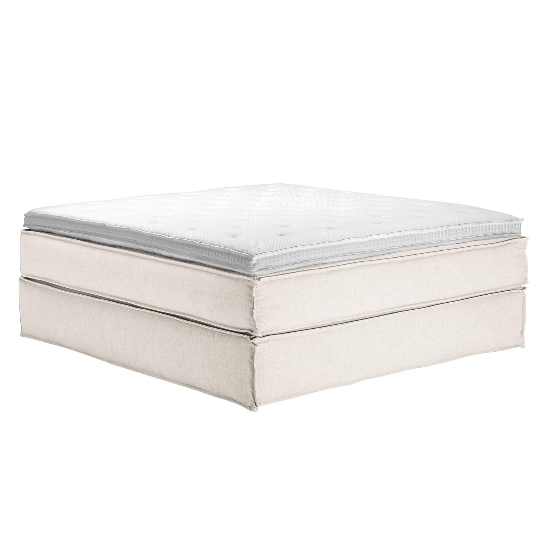 Boxspringbett Kinx - Webstoff - Weiß - Ohne - 180 x 200 cm