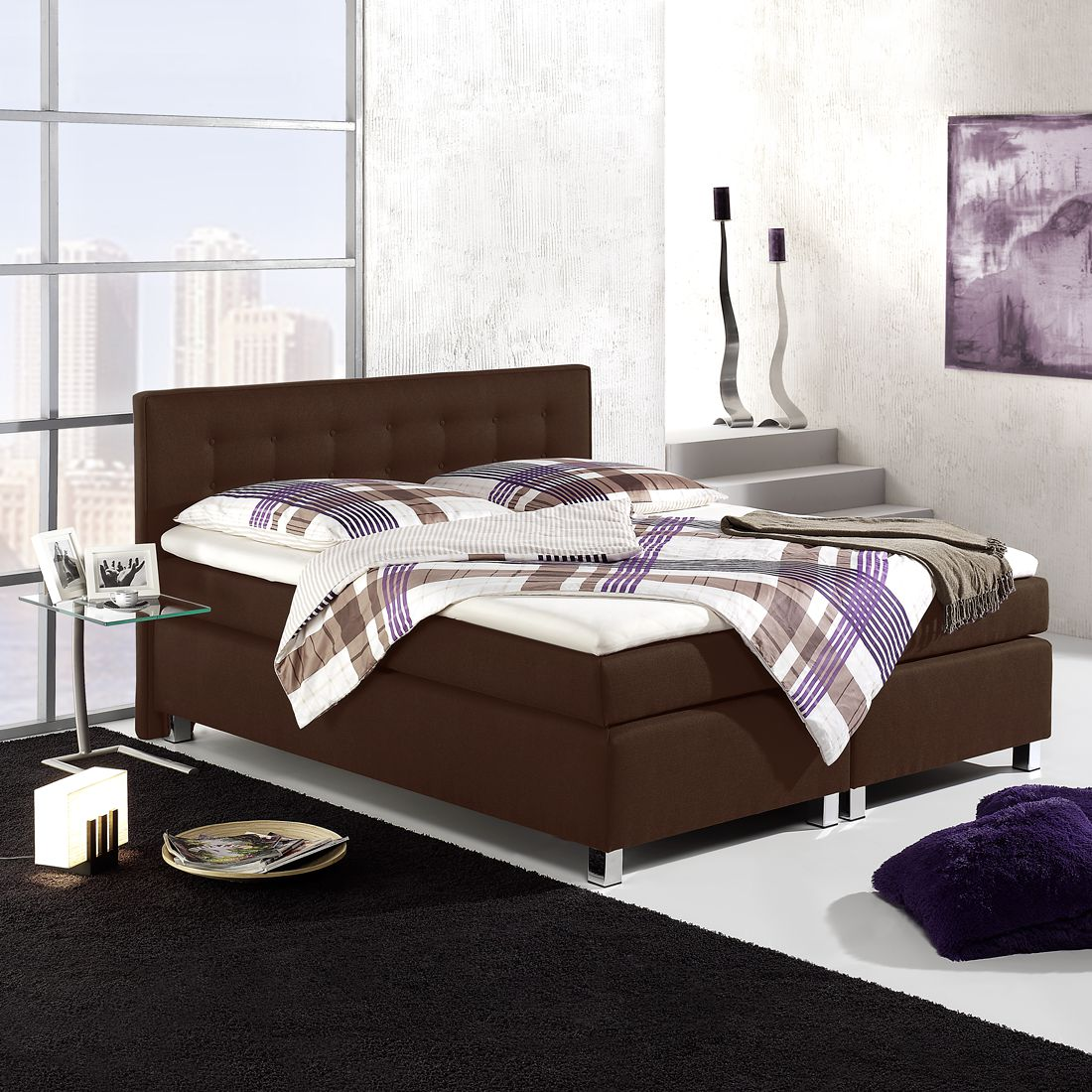boxspringbett melody strukturstoff 160 x 200cm h3 ab. Black Bedroom Furniture Sets. Home Design Ideas