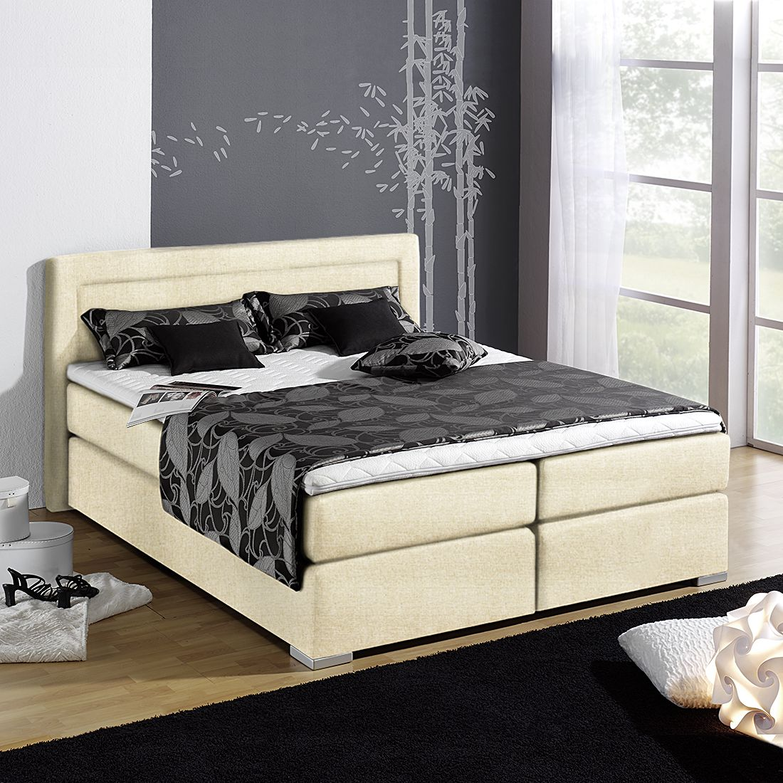 boxspringbett sandor inklusive topper strukturstoff 140 x 200cm h3 ab 80 kg. Black Bedroom Furniture Sets. Home Design Ideas