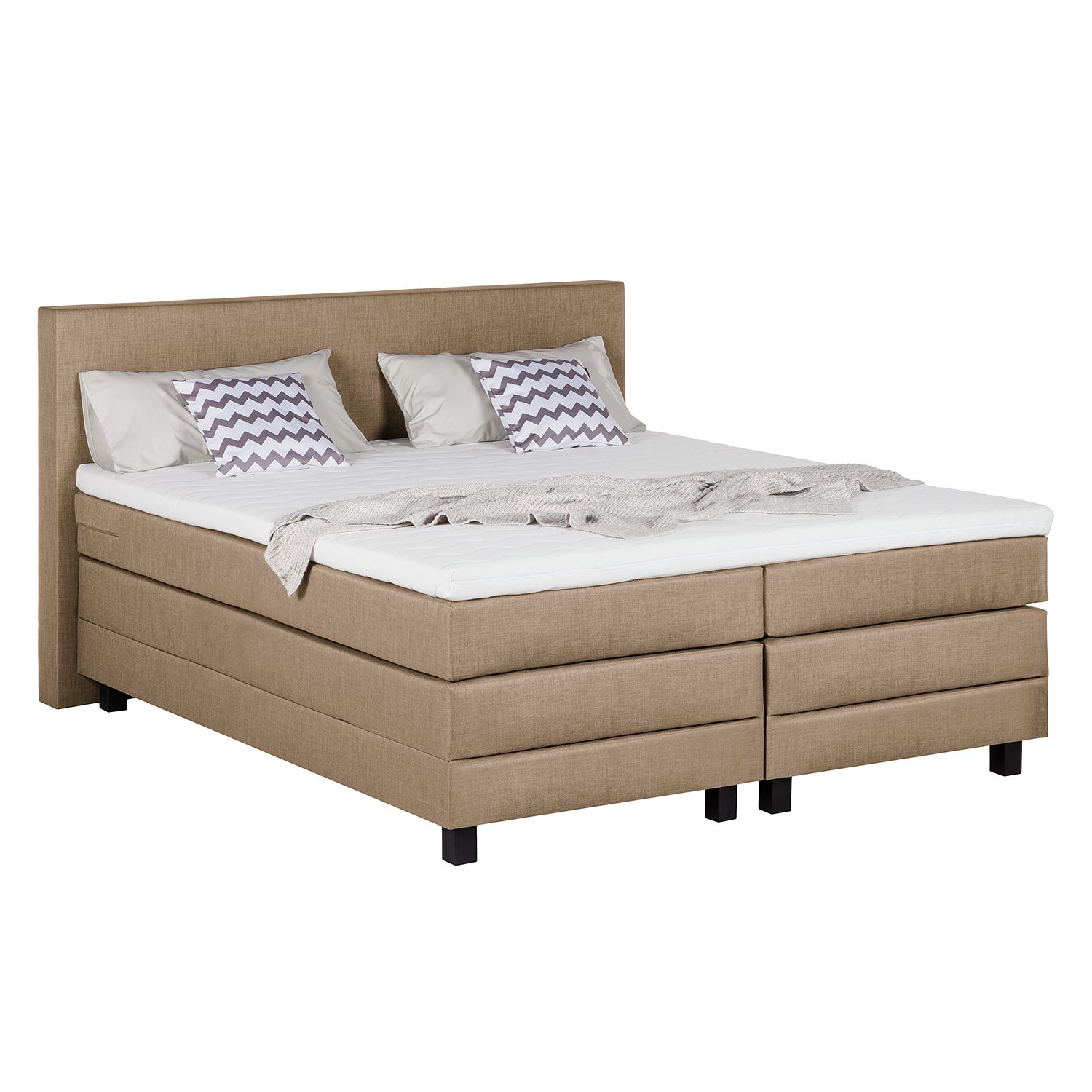 Lit boxspring Splendid Night - 180 x 200cm - D2 jusqu'à 80 kg - Taupe, Grand Selection