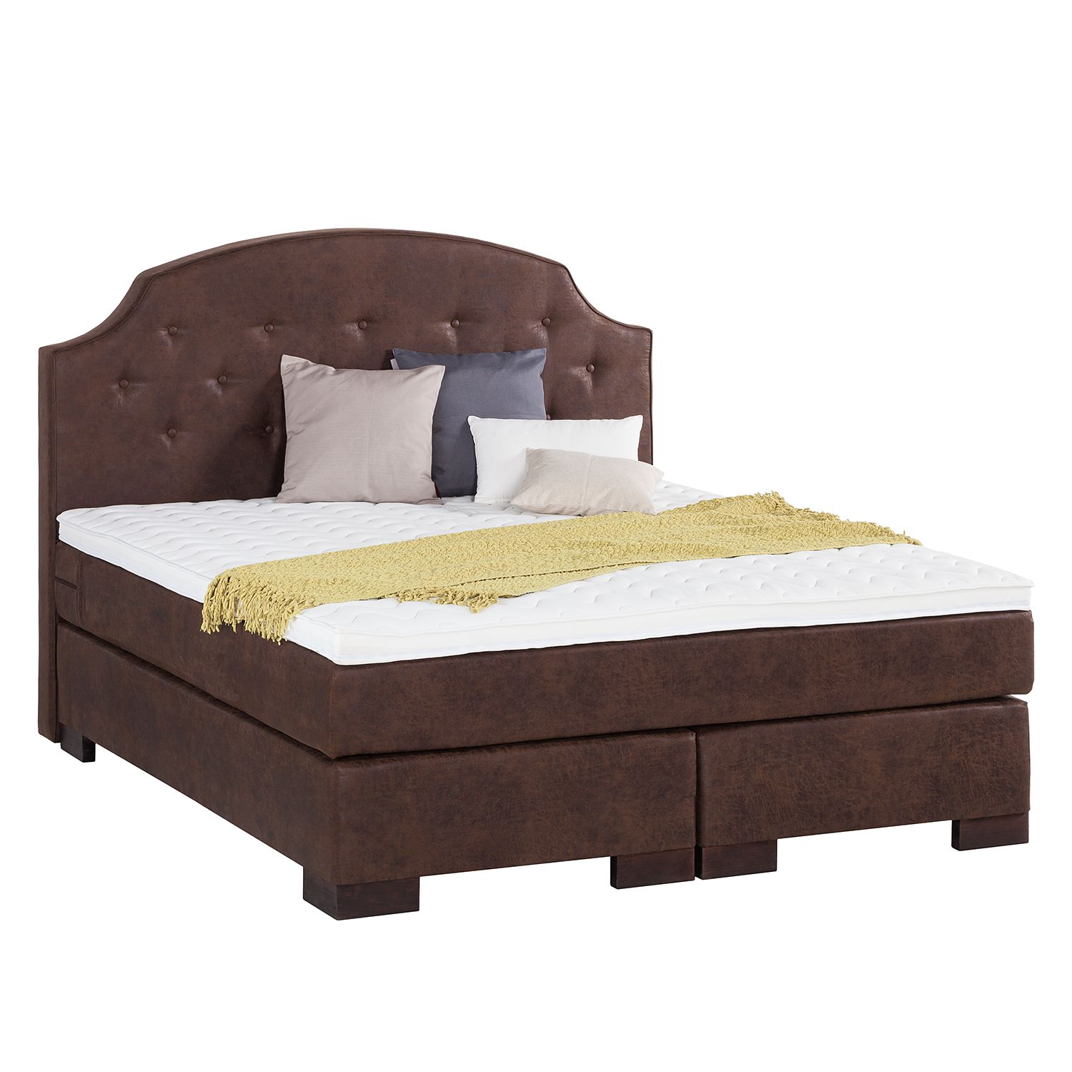boxspringbett manchester microfaser braun 140 x. Black Bedroom Furniture Sets. Home Design Ideas