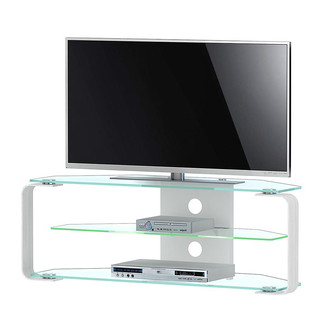 EEK A+, Meuble TV CU- MR (éclairage fourni) - Aluminium / Verre - 110 cm, Jahnke