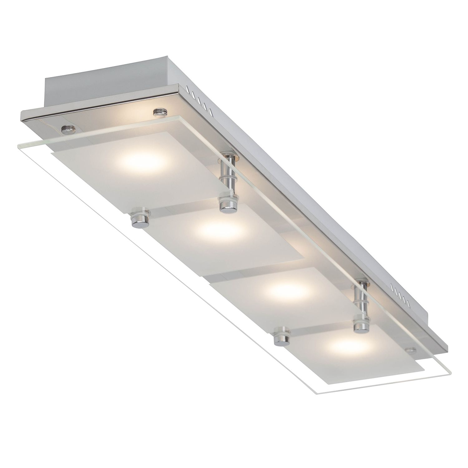 energie  A+, LED-plafondlamp World II - glas/staal - 4, Brilliant