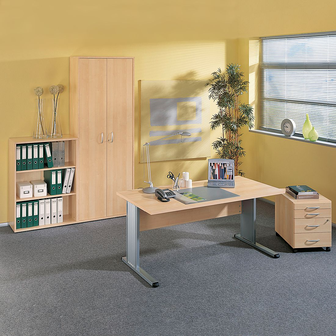 Mobilier de bureau Pontus Plus (4 éléments) - Imitation érable, Wellemöbel
