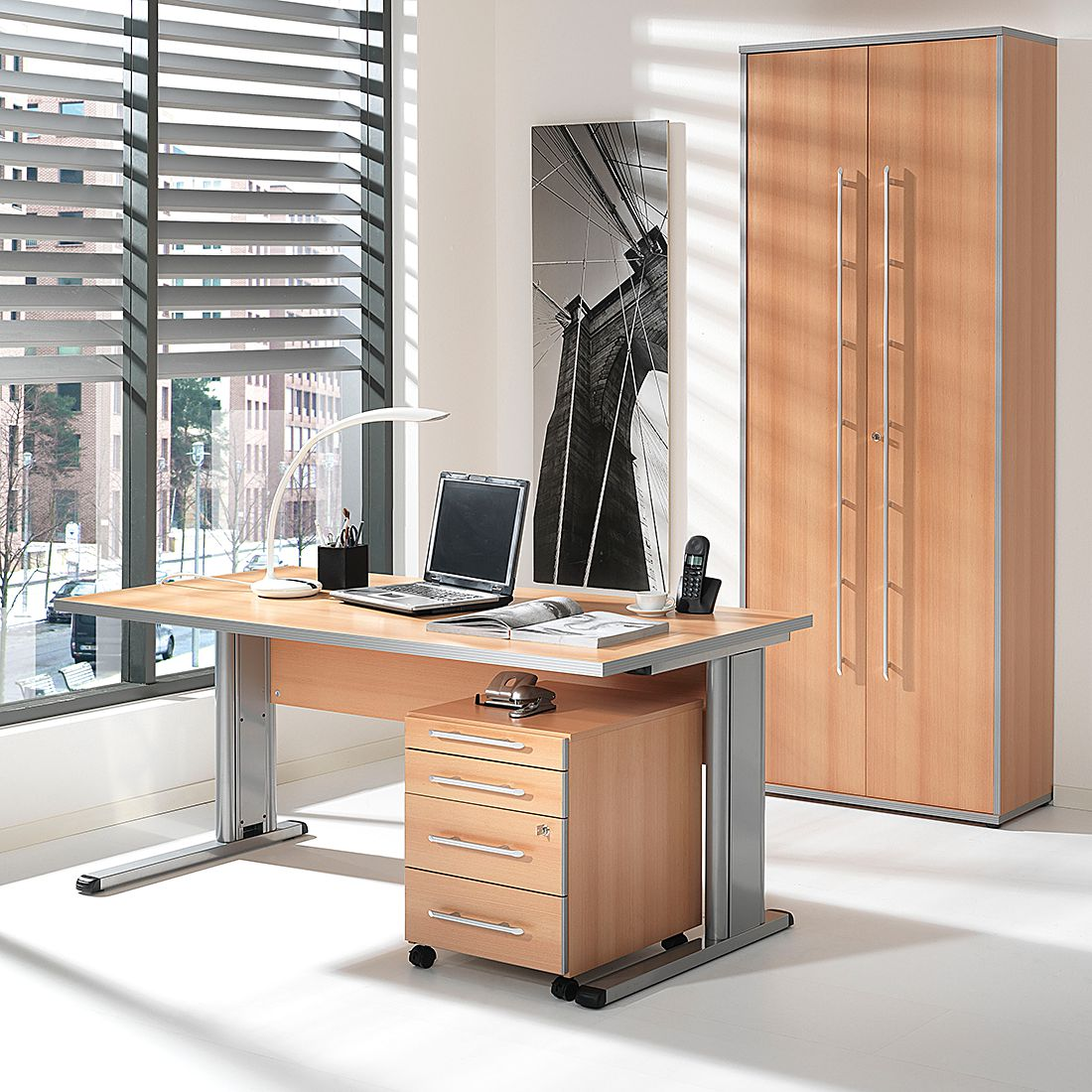 Home 24 - Ensemble de bureau kirk volts (3 éléments) - imitation hêtre, wellemöbel