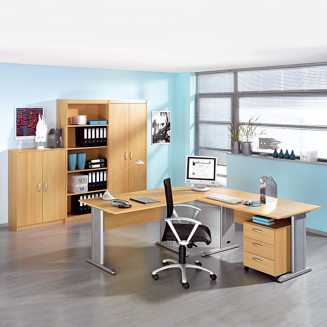 Mobilier de bureau Tomas 2 - Imitation hêtre - Imitation hêtre, Wellemöbel
