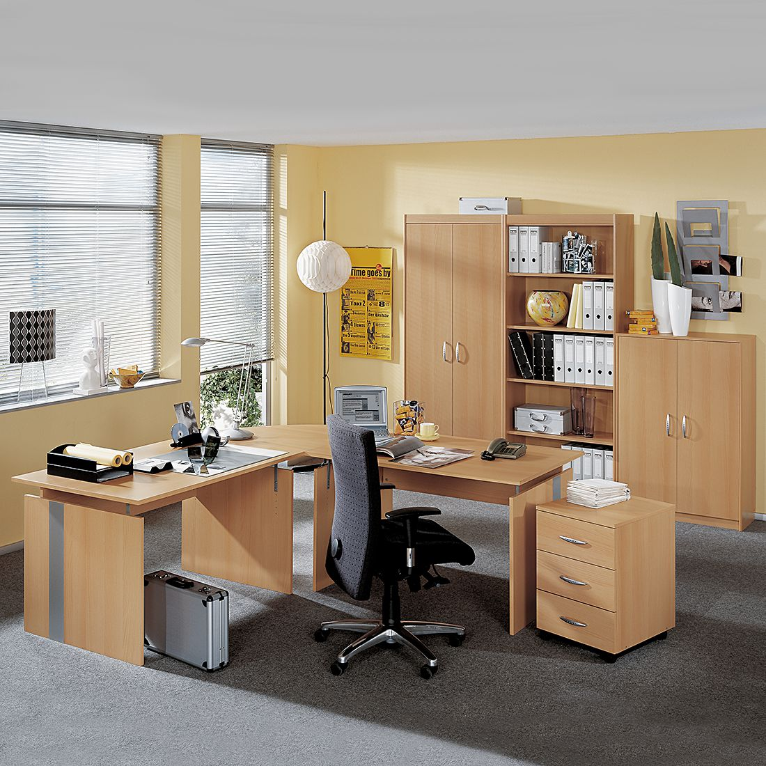 Mobilier de bureau Tomas - Imitation hêtre - Imitation hêtre, Wellemöbel